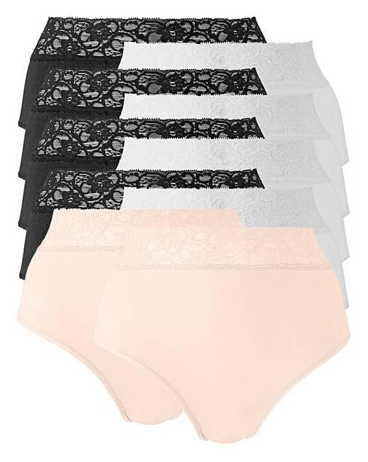 0c2819059546 7 Pack Blk/Wht/Blush Lace Top Briefs | J D Williams