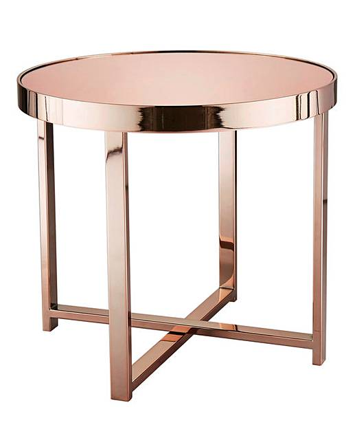 Ayla Rose Gold Mirrored Side Table