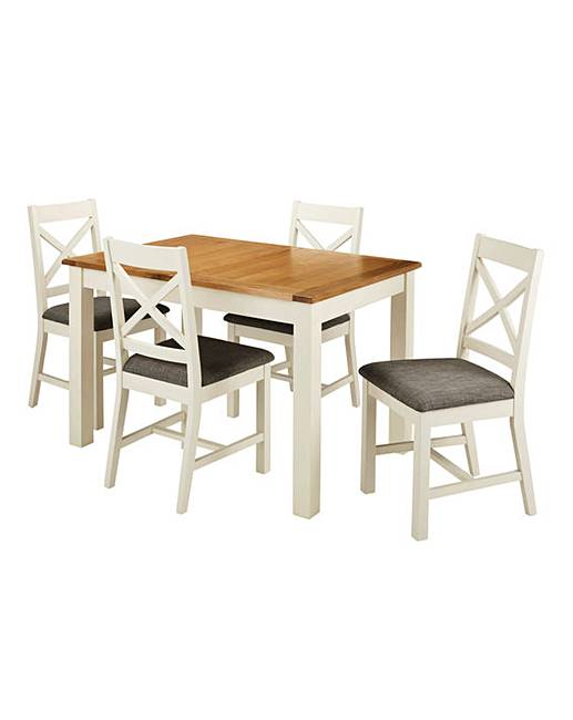 Norfolk Two Tone Oak And Veneer Large Extending Dining Table 4 Chairs