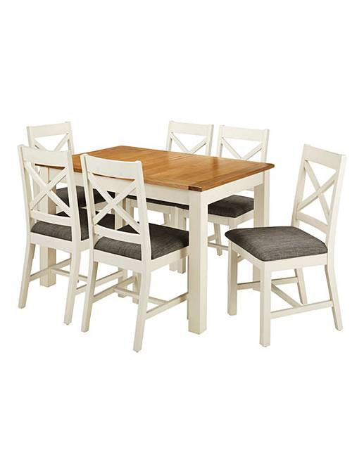 Norfolk Two Tone Oak And Veneer Large Extending Dining Table 6 Chairs