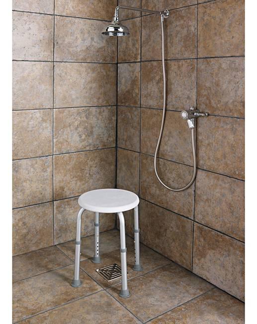 Round Shower Stool - Height Adjustable   Fashion World