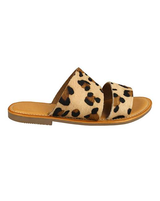 e330ad49167 Leopard Leather Sliders Standard Fit