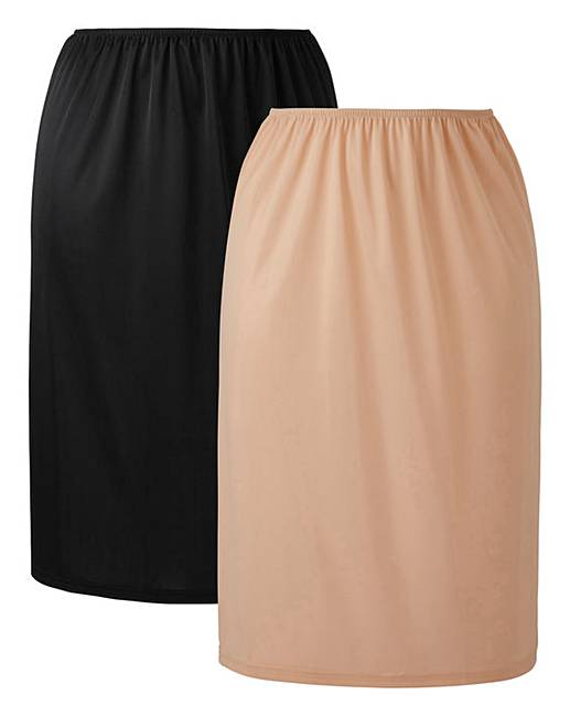 Naturally Close 2 Pack Black/Natural Waist Slips, L27 by Simply Be
