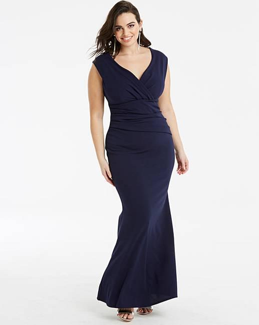 a7b2a22db26 Quiz Curve Navy Wrap Maxi Dress