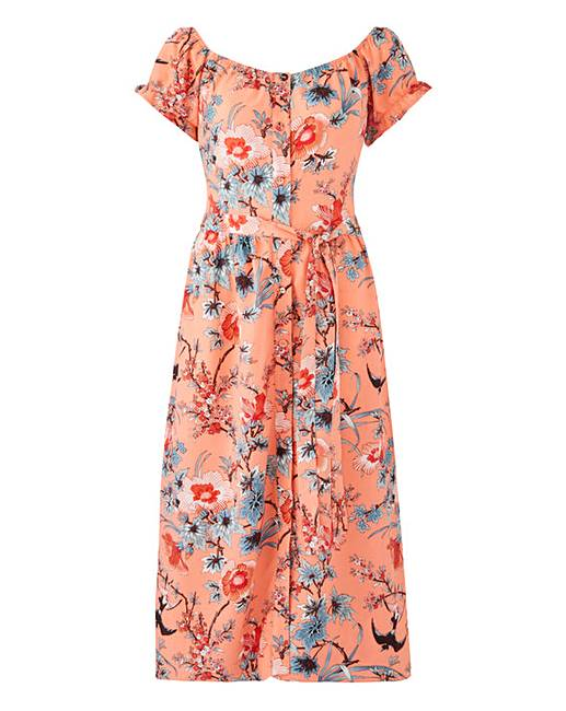 30ee442b083c7 Oasis Curve Bardot Midi Dress | J D Williams