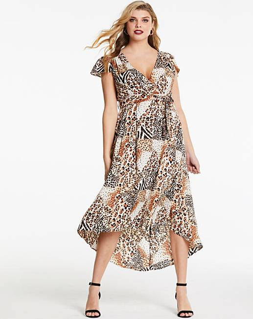 951760e0cb44b AX Paris Animal Print Wrap Midi Dress | Fashion World