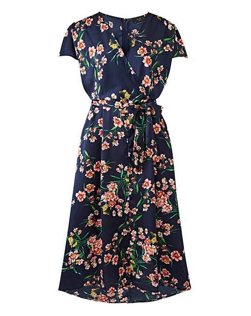 8eeee73a08e AX Paris Floral Satin Wrap Dress