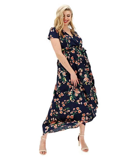 b033cf3a1a37d6 AX Paris Floral Satin Wrap Dress | Simply Be
