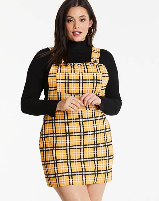 4e049fb4c78 Lasula Yellow Check Pinafore Dress
