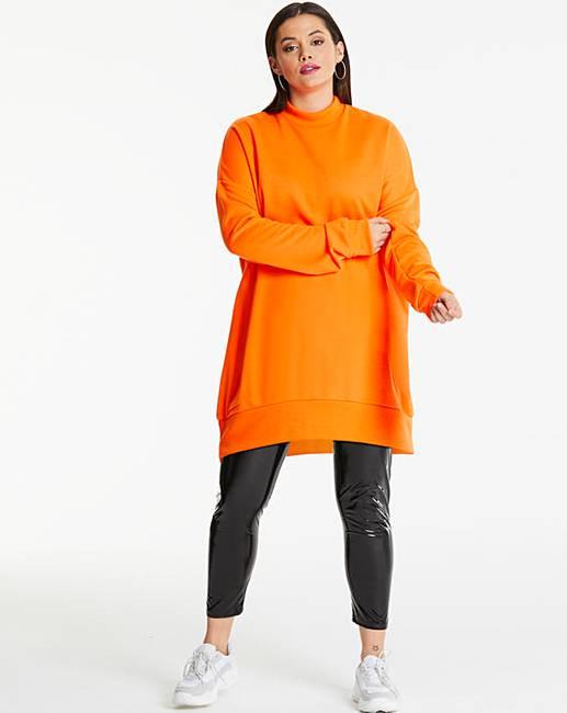 381c9533a95 AX Paris Neon Orange Plain Jumper Dress