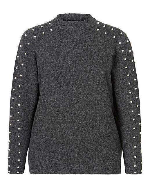 b674e7ad4a Junarose Pearl Sleeve Knit Pullover | J D Williams