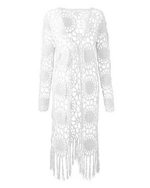 White Crochet Cardigan Simply Be
