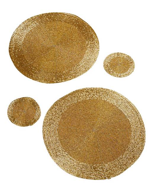 Greatest Beaded Round 2 Placemats & 2 Coasters | House of Bath HB83