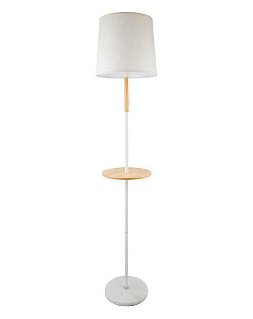 White Wooden Floor Lamp With Shelf J D Williams