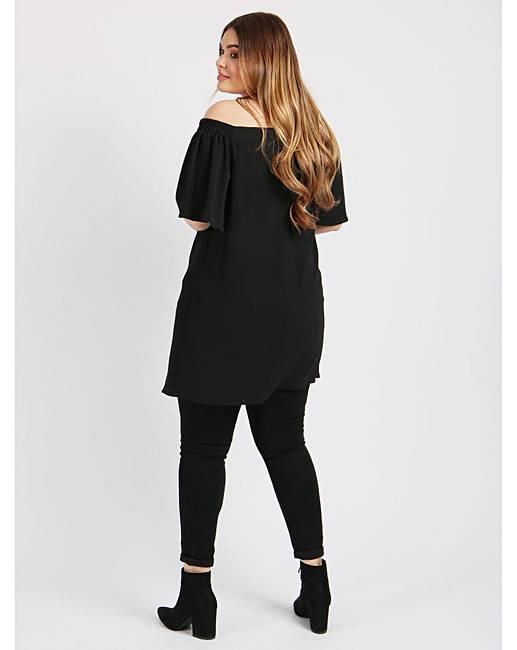 a9530efcc7a083 Lovedrobe GB Black Longline Bardot Top | Simply Be