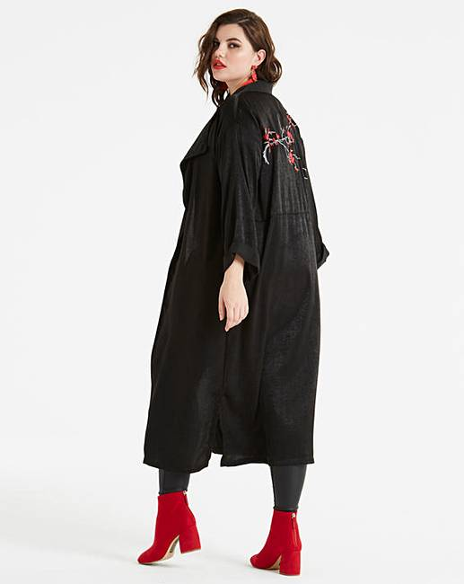 7a7bc67b96a Koovs Embroidered Longline Jacket | Simply Be