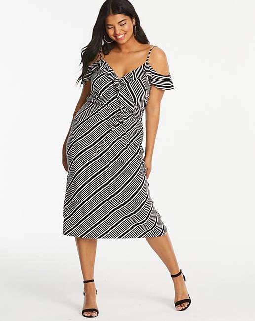eb3f099a288 Oasis Monroe Stripe Wrap Dress