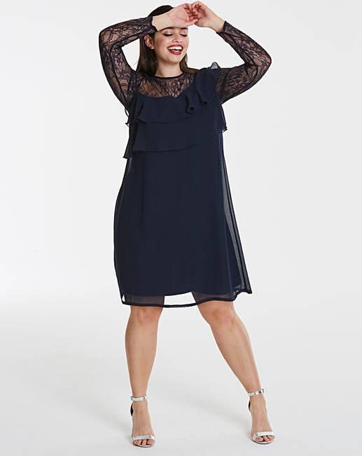 ba60336243a6 Elise Ryan Frilled Chiffon Dress | Simply Be