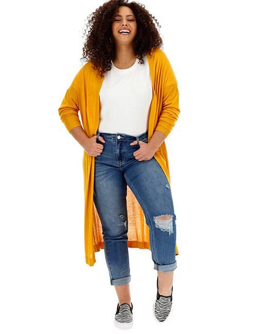 da6d7e166c9 Saffron Linen Mix Longline Cardigan