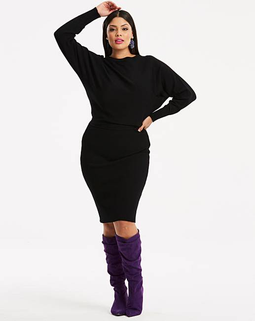 Batwing Sleeve Knitted Jumper Dress Simply Be