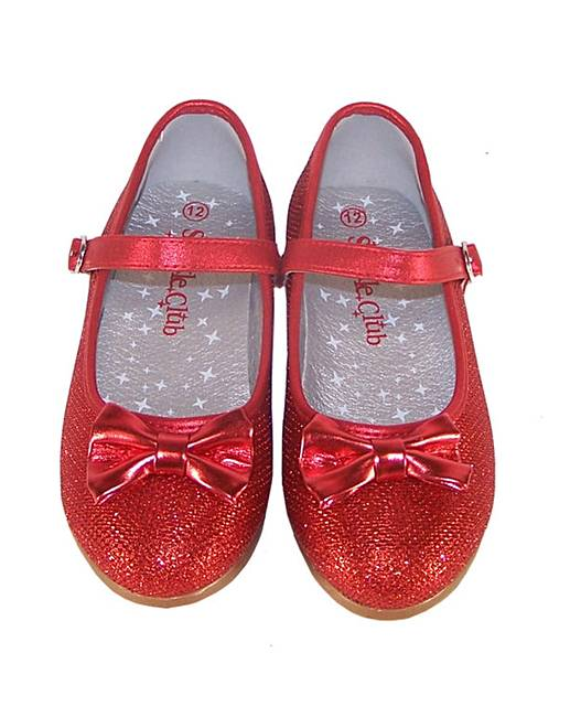 d88ced5e0eb Sparkle Club Red Sparkly Ballerina Shoes with a Red Bow. Rollover image to  magnify