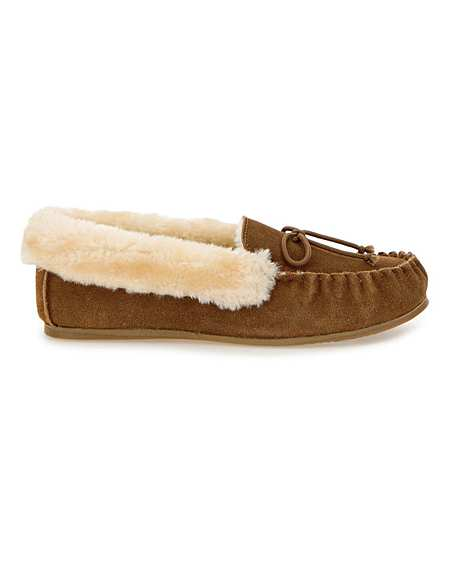 Suede Moccasin Slippers EEE Fit | Simply Be