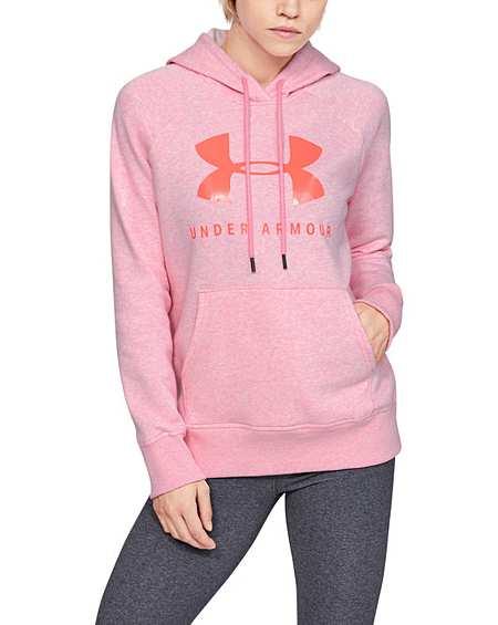 New Women/'s Under Armour Sweatshirt Hoodie Fleece Pullover Pink Large