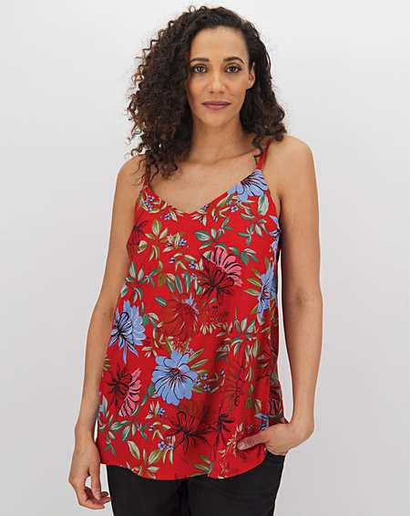 ex Anthology RED Jersey Wrap Front Camisole Vest Top 18 20 22 24 26 28 30 32