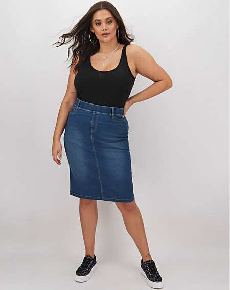 Ladies Womens Amber Ladies Linen Look Skirt
