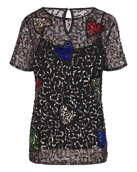 Black Mesh Heart Sequin T-Shirt