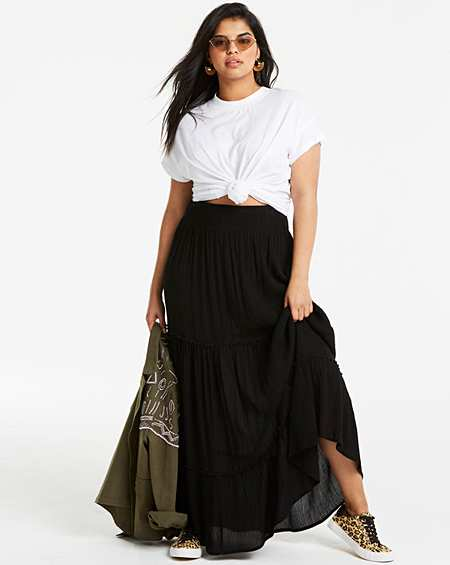 Womens Floral Print Crepe Maxi Skirt Simply Be
