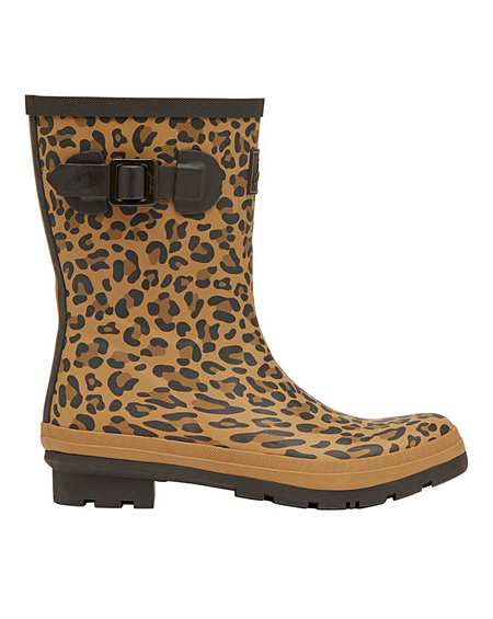 Joules Molly Mid Leopard Print Wellies