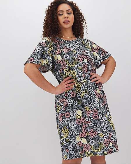 NWT BLACK FLORAL PRINT CALF LENGTH DRESS SIZE 12 SIMPLY BE