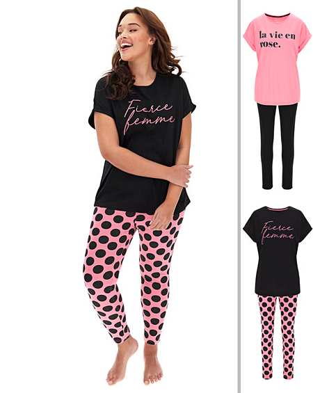 Simply Be Womens Pretty Secrets Jersey Pyjama Top