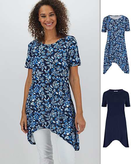 NEW ex Joanna Hope NAVY BLUE Floral Print Dipped Hem Tunic  TOP 12 16 22 24 26