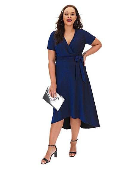 Cobalt Glitter Knit Wrap Skater Dress
