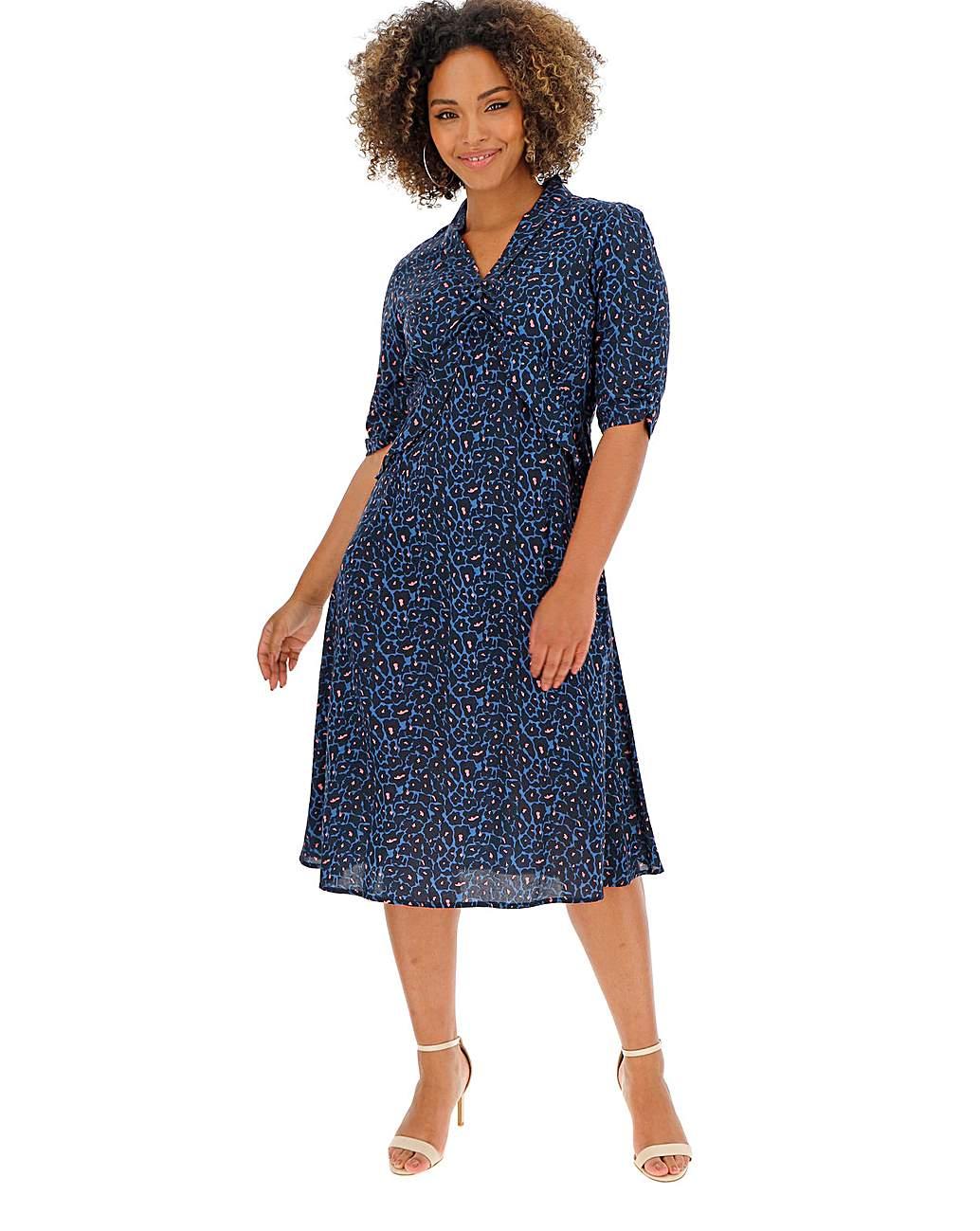 Joe Browns Womens Animal Style Print Vintage Collar Dress