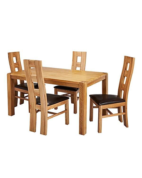Hendon Oak Dining Table 4 Rutland Chairs