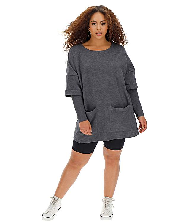 Sweaterdress With Double Layer Sleeve