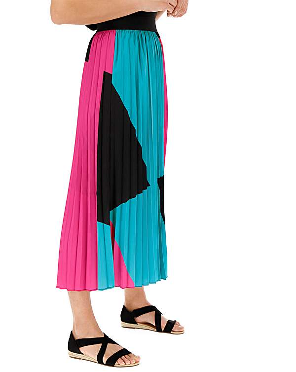 detailed look coupon codes half price Colour Block Sunray Pleat Maxi Skirt