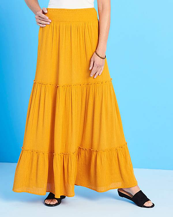 superior quality large discount top style Crinkle Shirred Waist Maxi Skirt