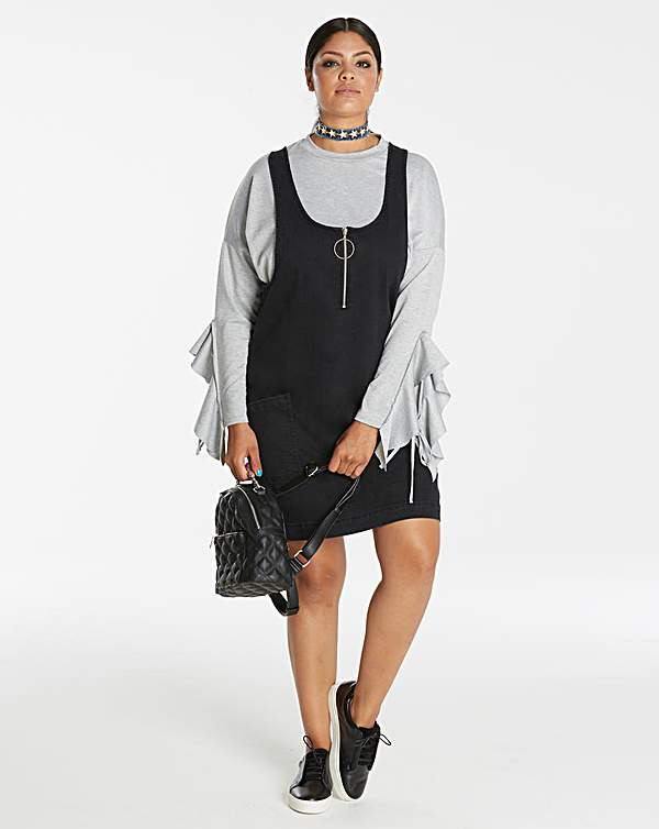 buy cheap variety of designs and colors search for newest Black Stretch Denim Pinafore Dress