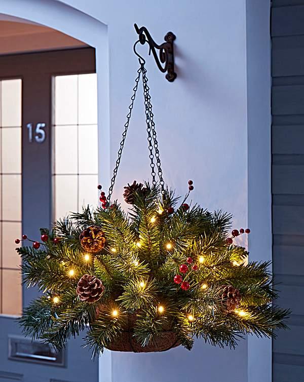 Christmas Hanging Baskets.Christmas Pine Lit Hanging Basket