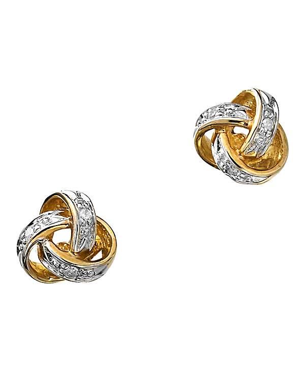 9 Carat Gold Diamond Knot Earrings