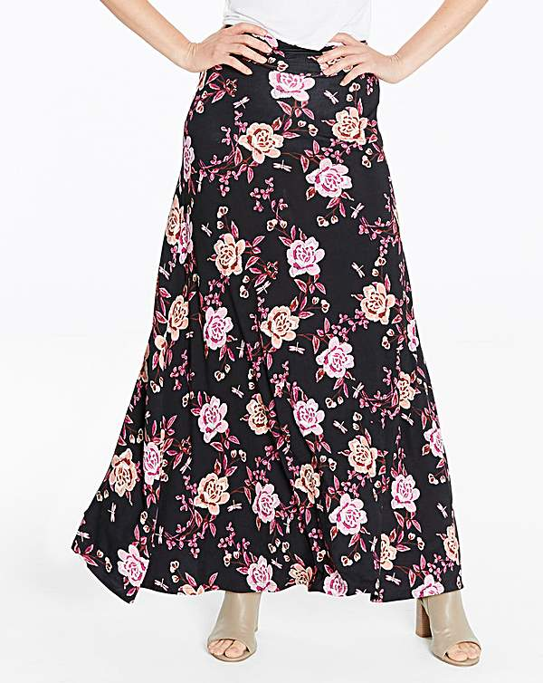 browse latest collections bright in luster performance sportswear Floral Print Stretch Jersey Maxi Skirt