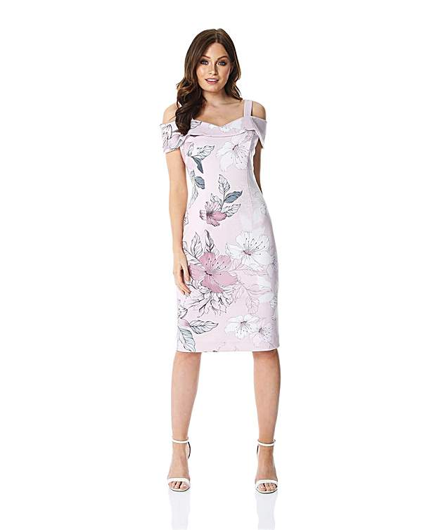Roman Floral Print Cold Shoulder Dress