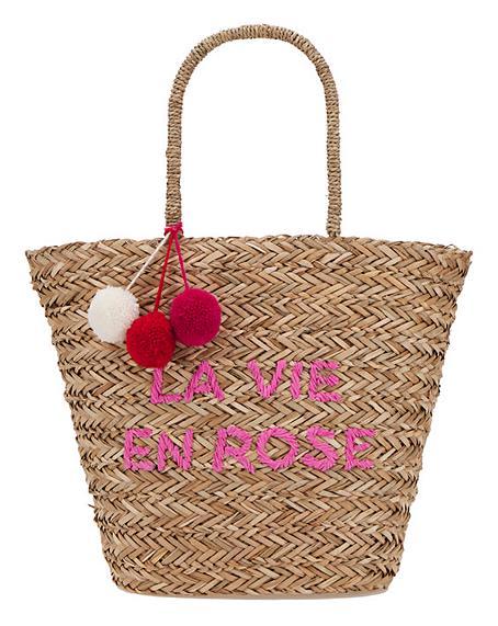 La Vie En Rose Basket Weave Large Tote