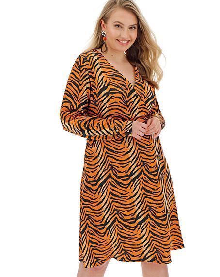 Tiger Print Wrap Dress