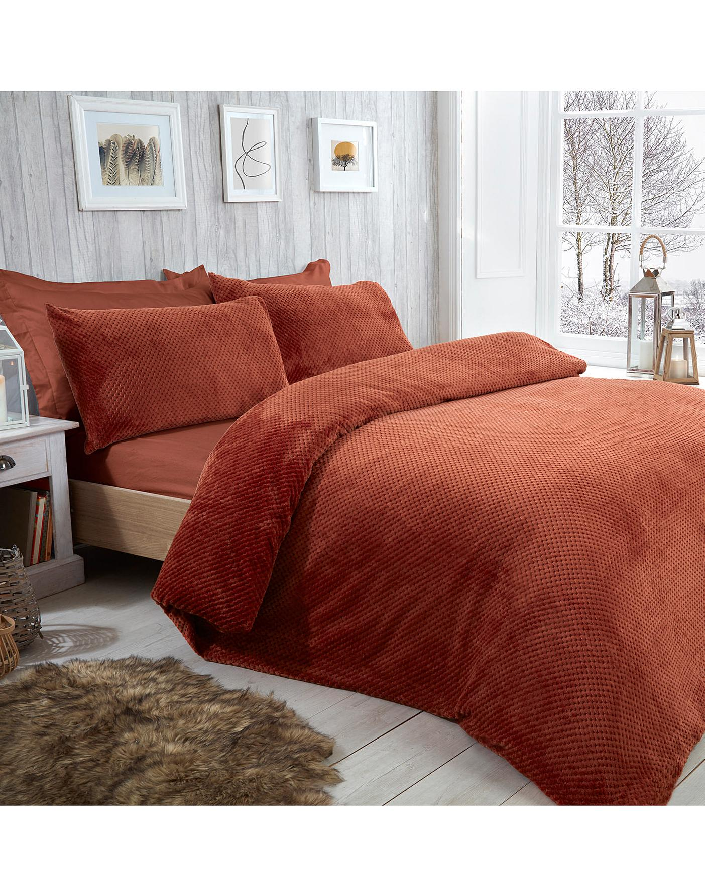 Waffle Fleece Duvet Cover Set J D Williams