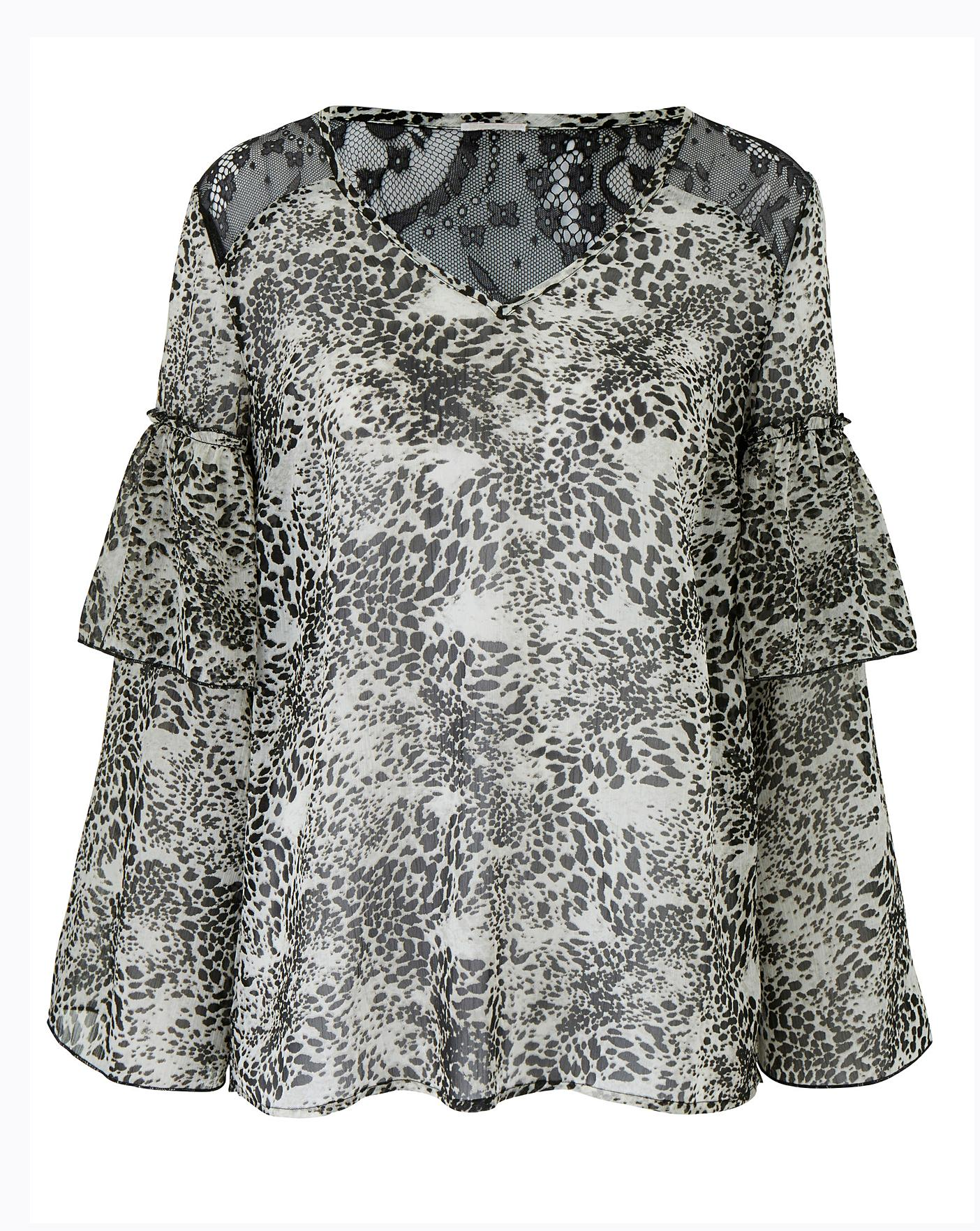 68343d8d84b Animal Print Layered Sleeve Top | Simply Be